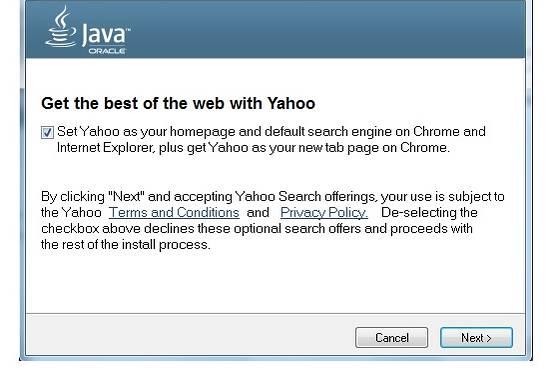 Oracle har bestemt seg for å erstatte Ask med Yahoo! i Java-oppdateringer skjermbilde