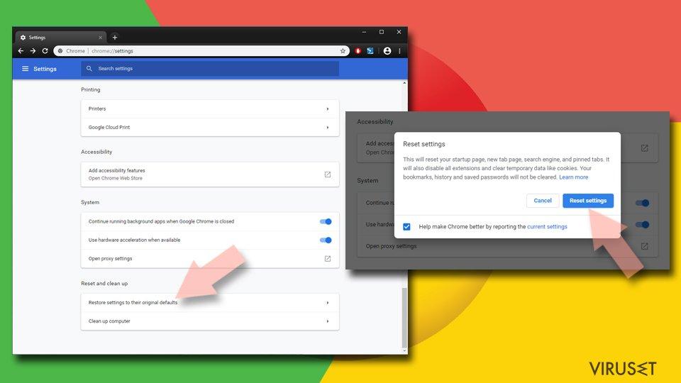 Tilbakestill Google Chrome