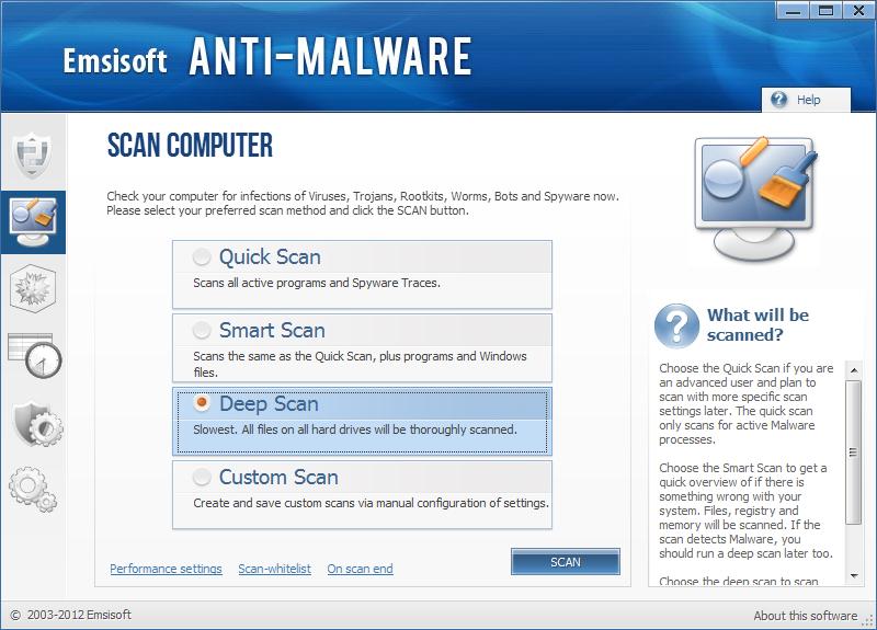 Emsisoft Anti Malware skjermbilde