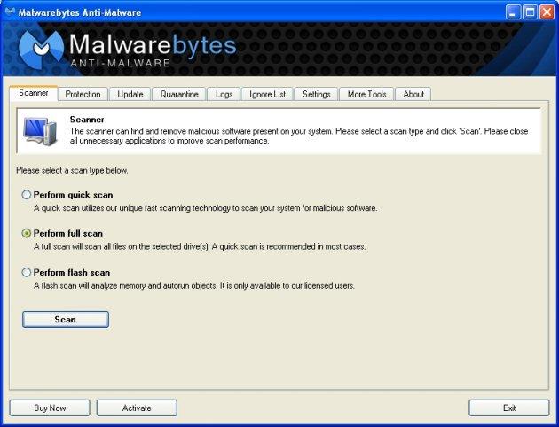 Malwarebytes Anti Malware skjermbilde