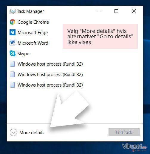 Velg 'More details' hvis alternativet 'Go to details' ikke vises