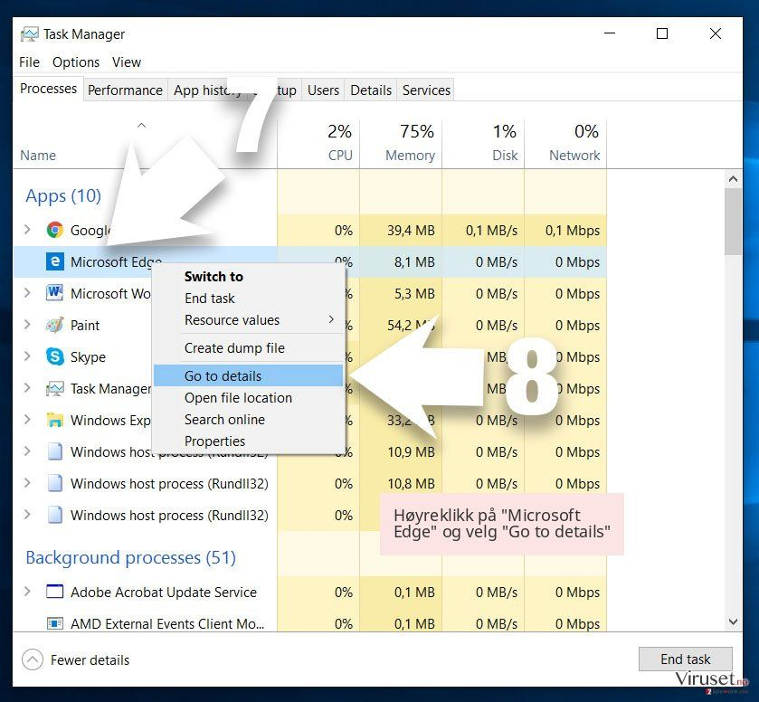 Høyreklikk på 'Microsoft Edge' og velg 'Go to details'