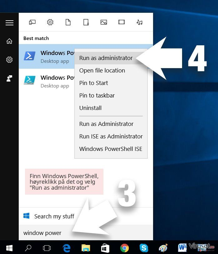 Finn Windows PowerShell, høyreklikk på det og velg 'Run as administrator'