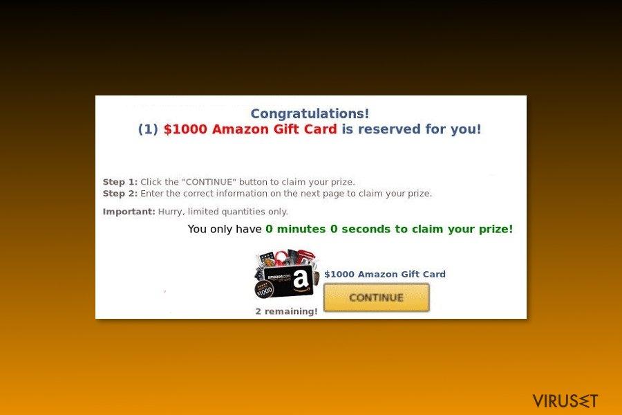 "Eksempel på ""$1000 Amazon Gift Card is reserved for you""-virus"