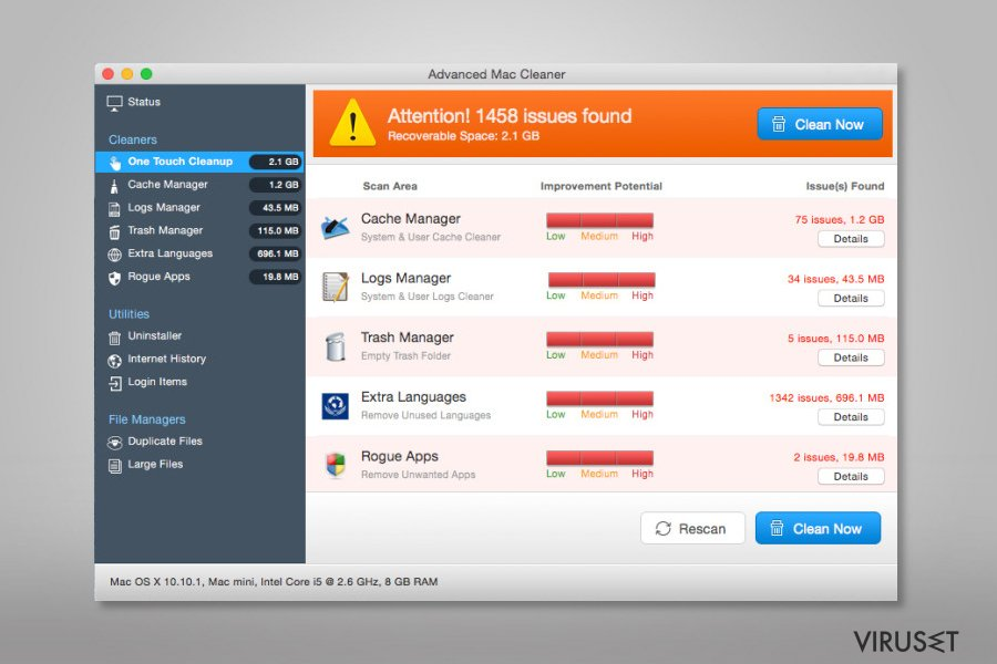 Screenshot of Advanced Mac Cleaner