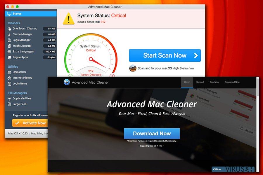 Advanced Mac Cleaner-virus skjermbilde