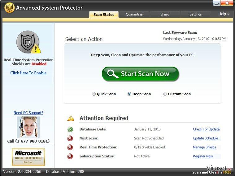 Advanced System Protector skjermbilde