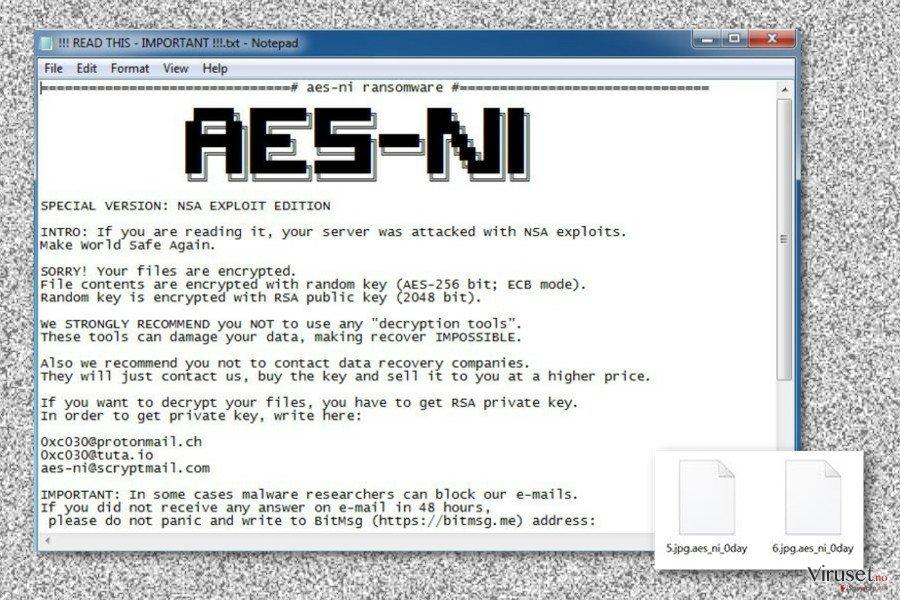Løsepenge krav av .Aes_ni_0day filtilleggs virus