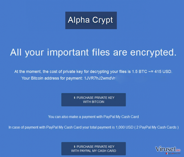 Alpha Crypt virus skjermbilde
