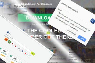 Bilde viser AlphaShoppers utvidelse og hovedside