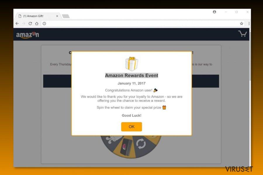 """Eksempel på """"Amazon Rewards Event""""-svindel"""