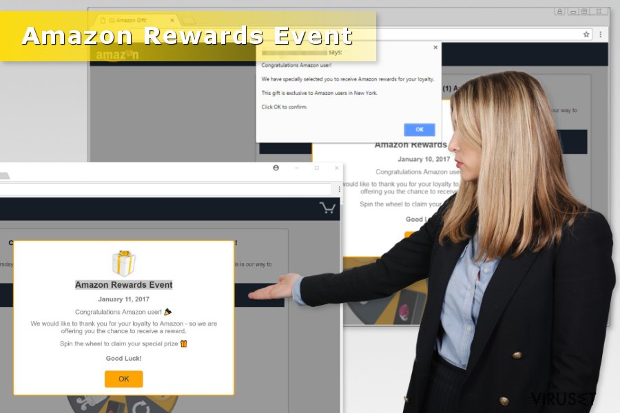 "Illustrasjon av ""Amazon Rewards Event""-svindel"