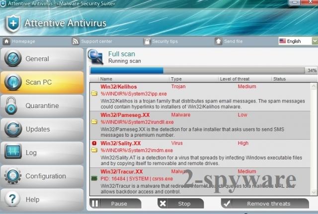 Attentive Antivirus skjermbilde