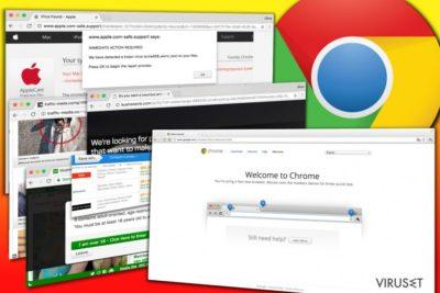 Eksempler på annnoser som vises av Chrome adware