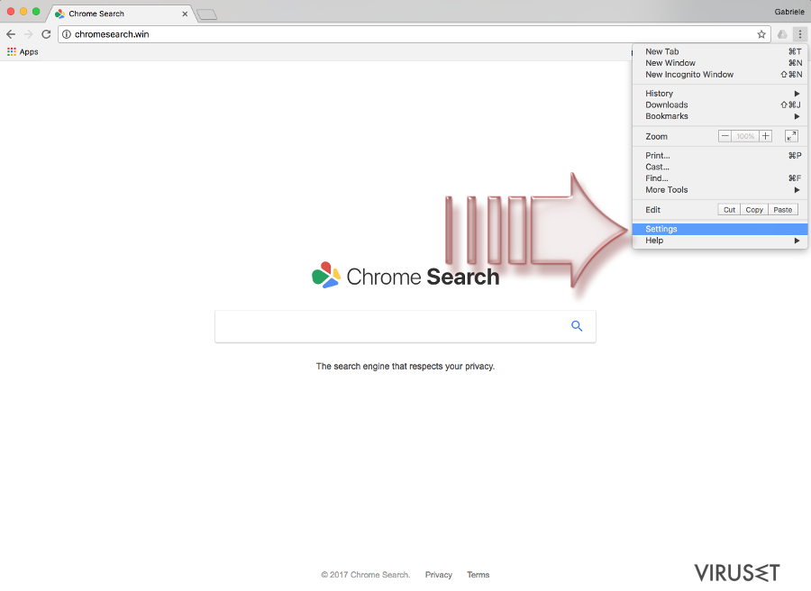 Chromesearch.win-virus skjermbilde