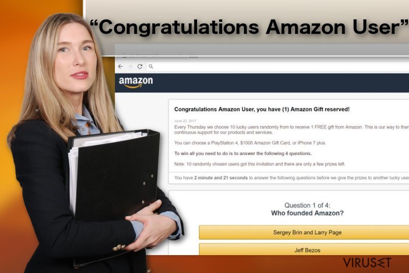 "Illustrasjon av adware-viruset ""Congratulations Amazon User"""