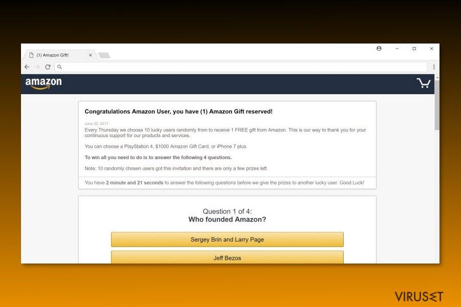 "Bilde av ""Congratulations Amazon User""-viruset"