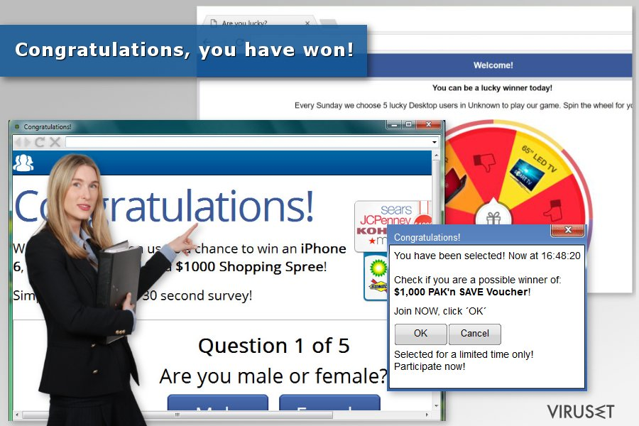 "Bilde av ""Congratulations, you have won""-virus"