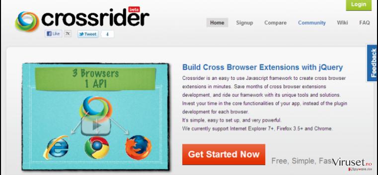 Search.crossrider.com redirect skjermbilde