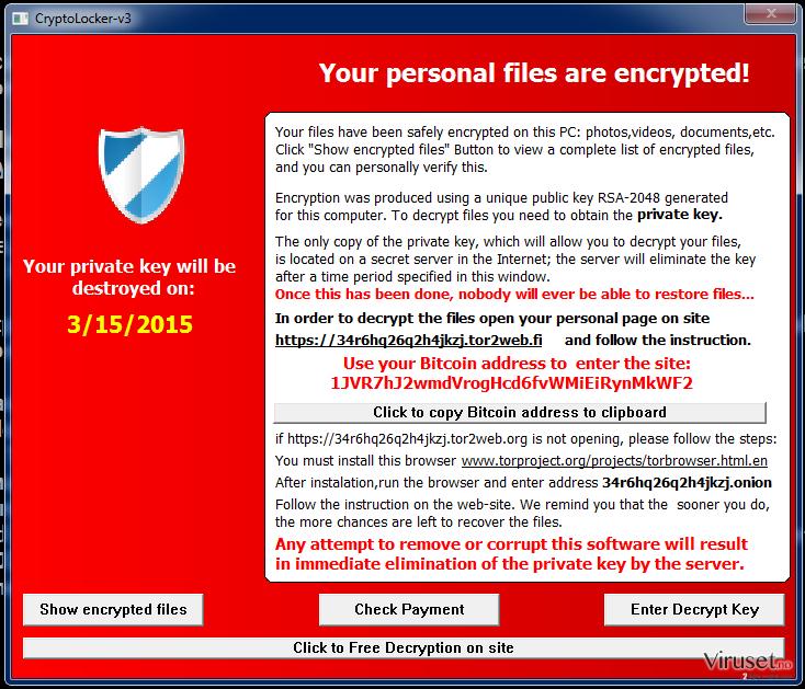Cryptolocker-v3 virus skjermbilde