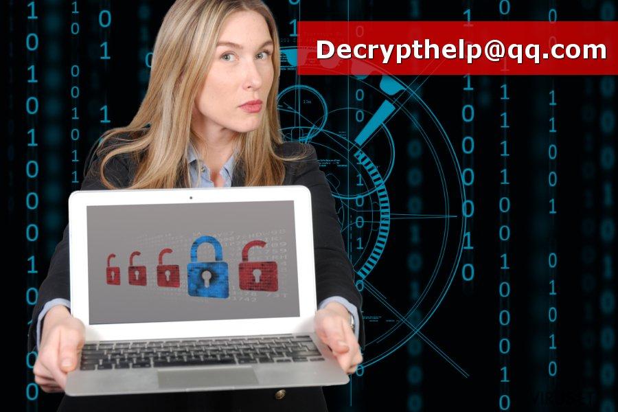 Bilde av ransomware-viruset Decrypthelp@qq.com