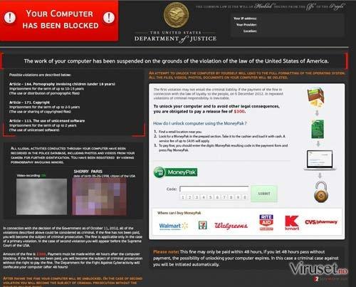 Department of Justice Virus skjermbilde