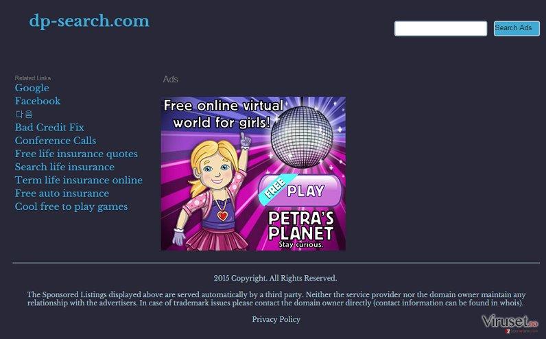 Dp-search.com omdirigering virus skjermbilde