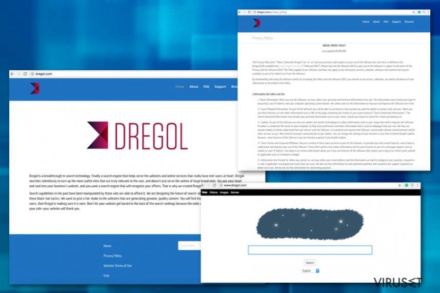 Dregol.com omdirigeringer skjermbilde