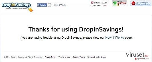DropinSavings virus skjermbilde