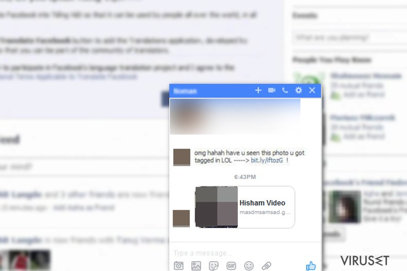 Facebook virus skjermbilde