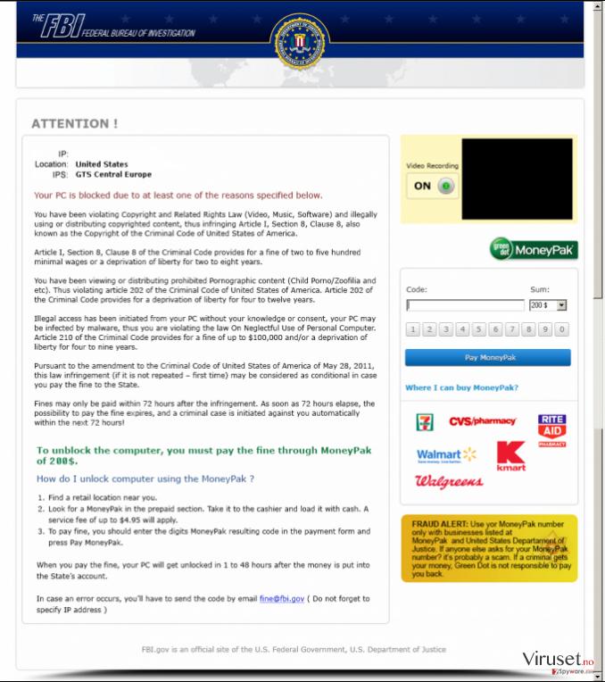 FBI Moneypak skjermbilde