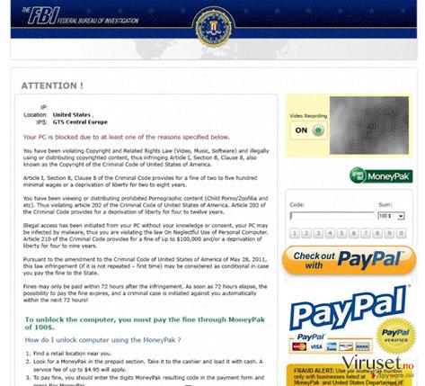 FBI PayPal virus skjermbilde