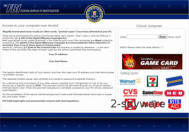 FBI Ultimate Game Card-virus skjermbilde