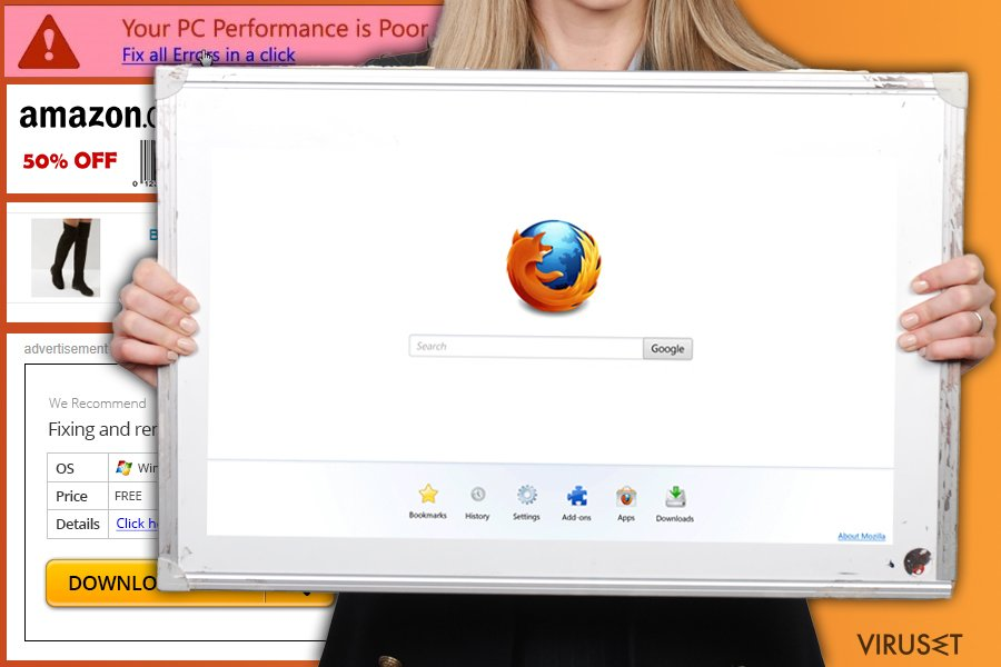 Firefox redirect virus skjermbilde