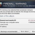 """Firewall Warning"" Pop up skjermbilde"