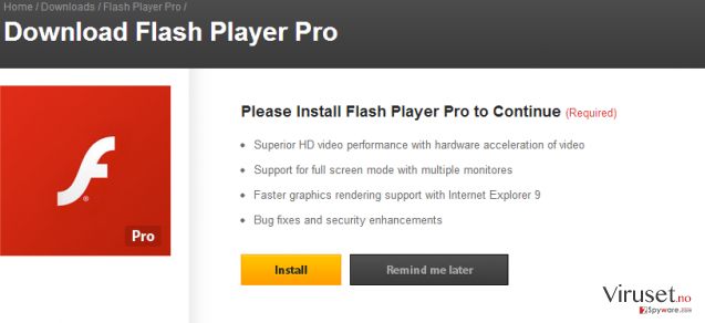 Flash Player Pro virus skjermbilde