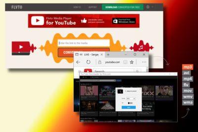 Eksempel på Flvto Youtube Downloader-viruset