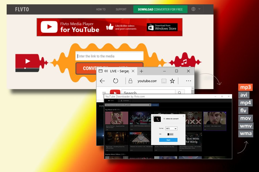 Eksempel på Flvto Youtube Downloader-viruset
