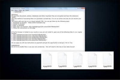 Meldingen fra GandCrab ransomware