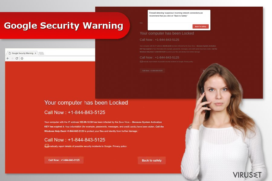 "Bilde av ""Google Security Warning"" svindel"