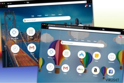 Ulike design av søkesiden Handy-Tab.com