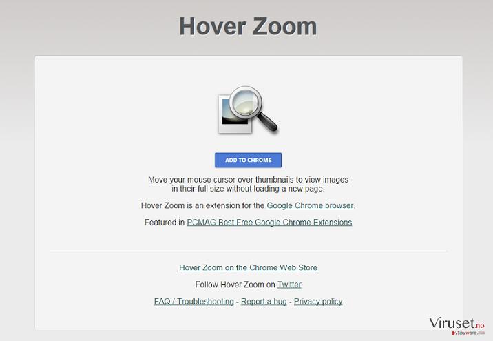 Hover Zoom-annonser skjermbilde