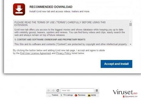 iLivid New Tab hijacker skjermbilde
