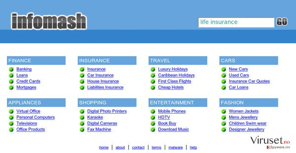 InfoMash omdirigering skjermbilde