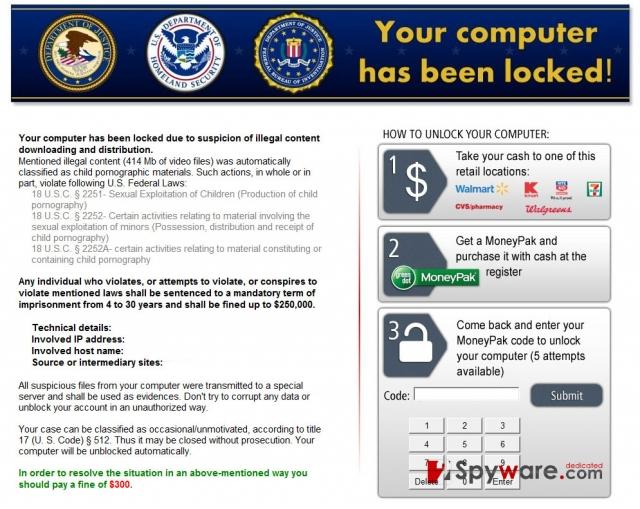 Kovter ransomware skjermbilde