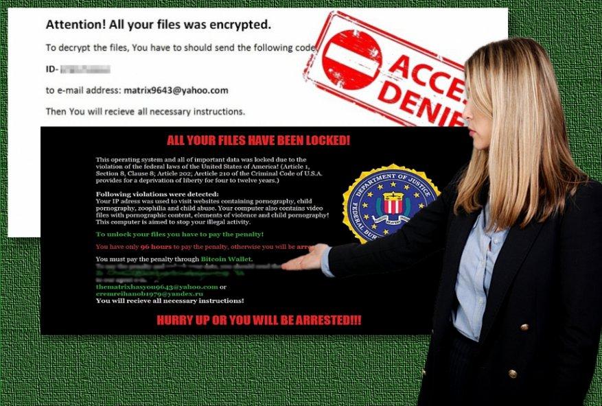 Eksempler av Matrix ransomware