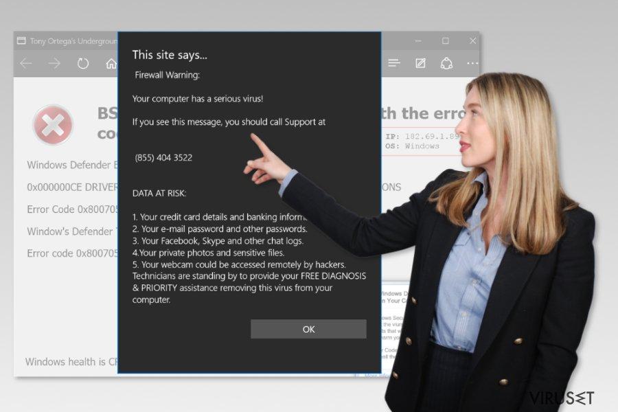 Microsoft Edge teknisk støtte-svindel