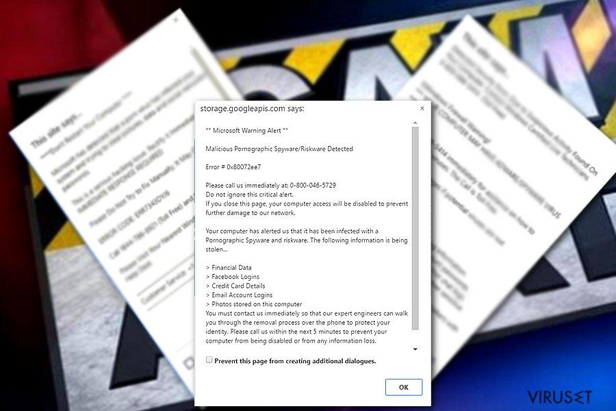 Prøven av Microsoft warning alert