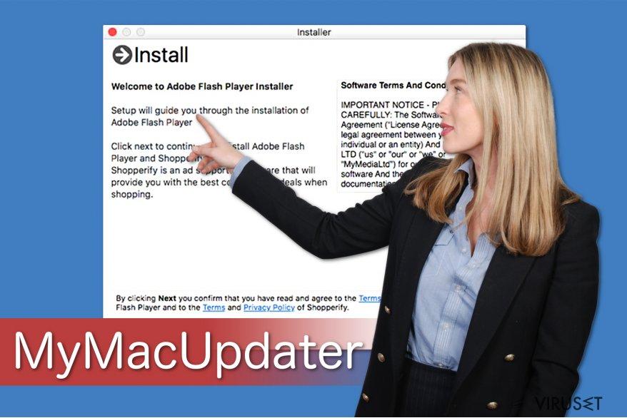 Illustrasjon av MyMacUpdater som viser hvordan det buntes med freeware