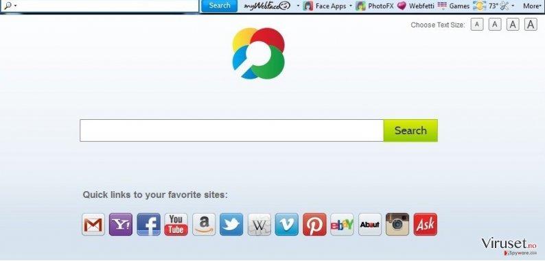 MyWebFace toolbar skjermbilde